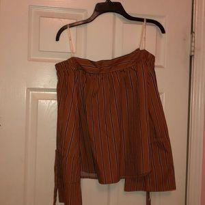 Tops - Orange Striped Off The Shoulder Shirt